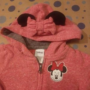 2T Pink Disney Minnie Mouse Zip-up sweatshir
